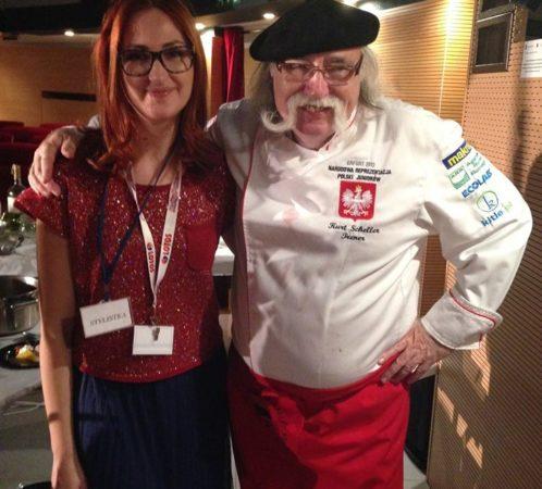 Izabela Jabłonowska i Kurt Scheller (szwajcarski szef kuchni, krytyk kulinarny), wydarzenie Warmianki.