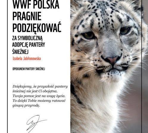 Podziękowanie WWF dla I. Jabłonowskiej za adopcję pantery śnieżnej.
